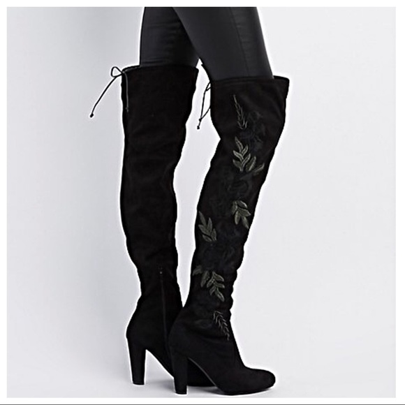 068085315ee Black embroidery over the knee boots Boutique